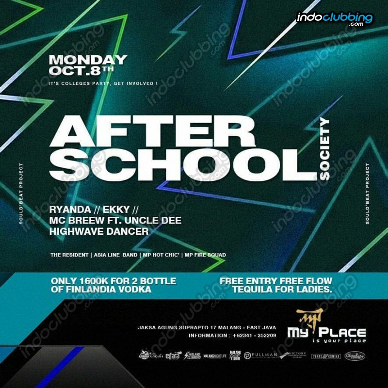 Event After School Society My Place Malang Mon 8 Oct 2018 Indoclubbing Com