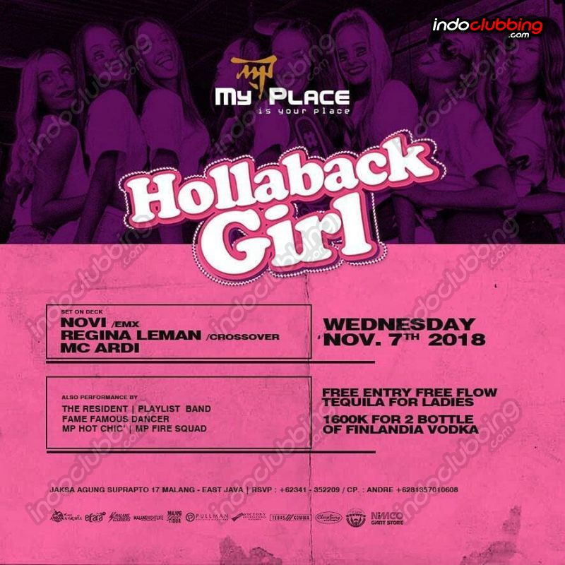 Event Hollaback Girl My Place Malang Wed 7 Nov 2018 Indoclubbing Com