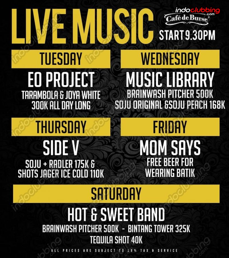 Event : Side V Live Music @ De Burse (Jakarta) - Thu 25 Apr