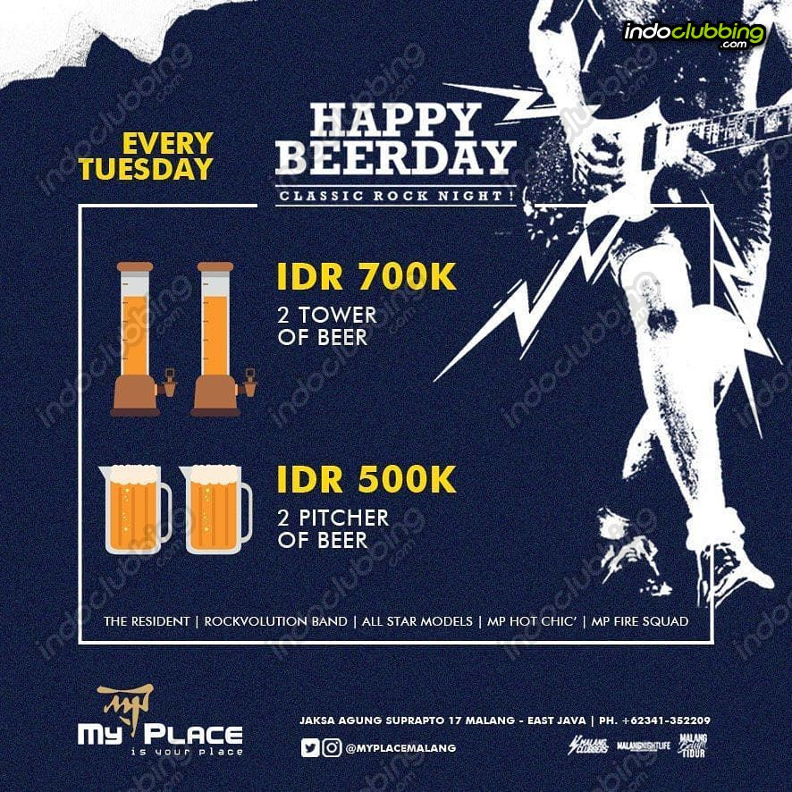 Promo Happy Beer Day My Place Malang Every Tuesday Indoclubbing Com