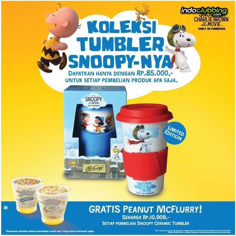 Promo Snoopy Tumbler Mcdonald S Surabaya Everyday
