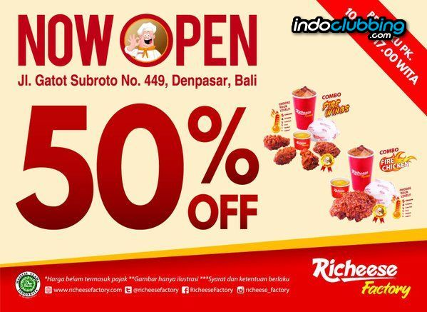 Promo Grand Opening Promo Richeese Factory Bali Everyday From